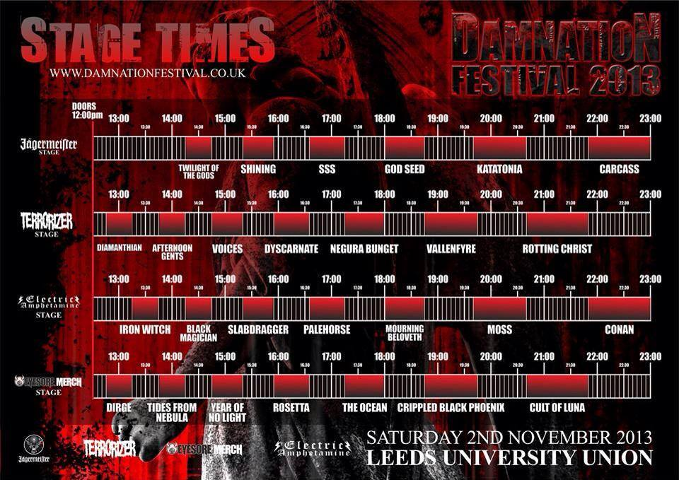 Damnation Festival Stage Times